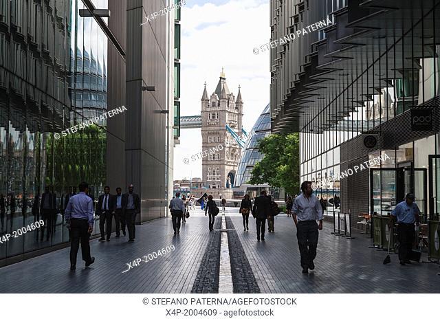 The Rill, More London, Towards Tower Bridge, London, UK
