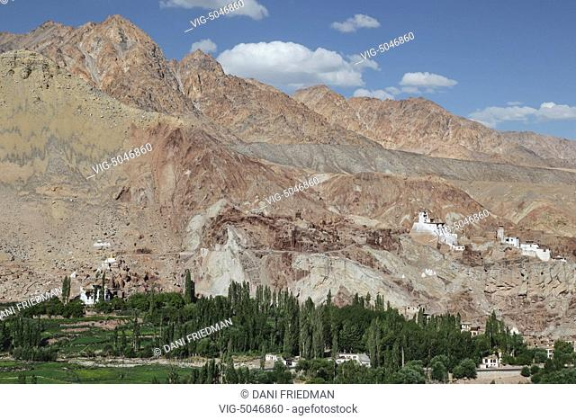 The recently restored 400-year-old mud-brick Basgo Gompa (Basgo Monastery) which rests beside a 500-year-old citadel located on a mountaintop in Basgo, Ladakh