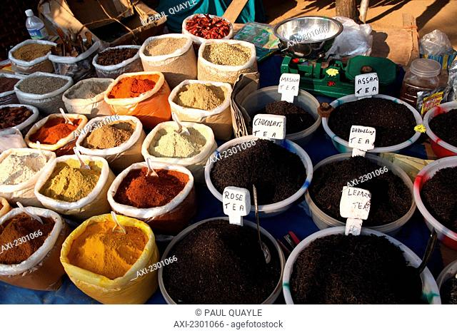 Spice and teas at world famous Anjuna Flea Market, held on Wednesdays on Anjuna Beach, Goa State, India, Asia.Ê