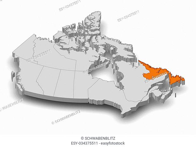 Map of Canada as a gray piece, Newfoundland and Labrador is highlighted in orange