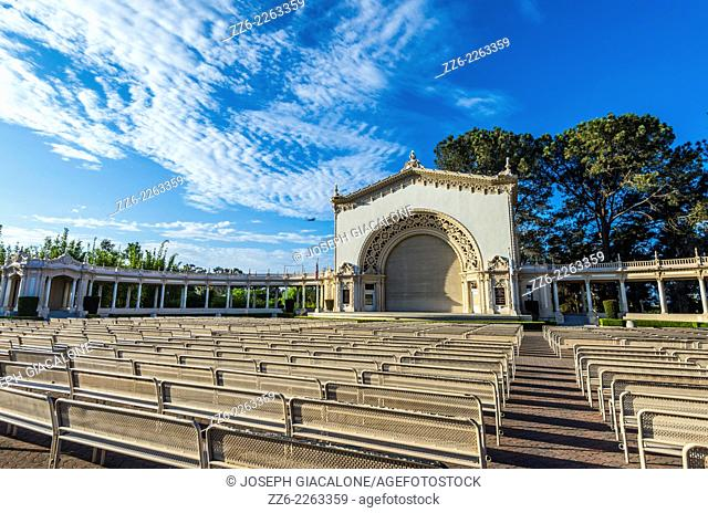 View of the Spreckels Organ Pavilion on a tranquil morning. Balboa Park, San Diego, California, United States