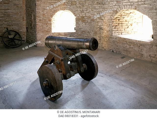 Cannon inside Vignola castle, 12th century, Emilia-Romagna, Italy