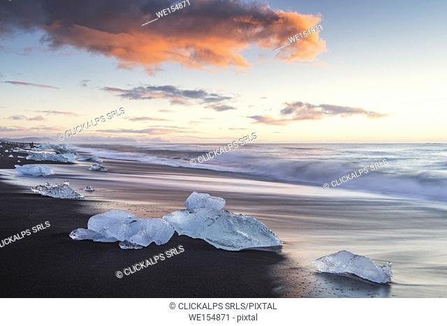 Jokulsarlon glacier lagoon, East Iceland. Blocks of ice on the black beach