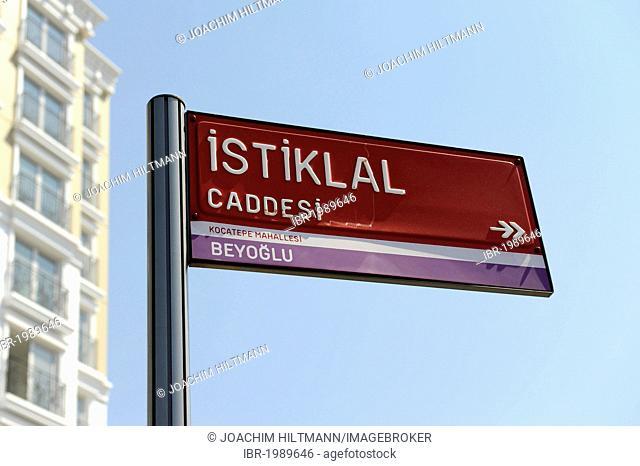 Street sign, Istiklal Avenue, Istiklal Caddesi street, Beyoglu district, Istanbul, Turkey