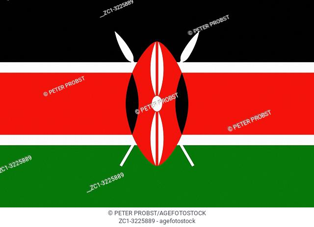 National flag of the Republic of Kenya