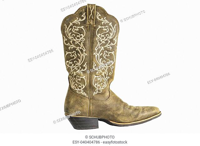 A brown ladies coyboy western boot isolated on a white background