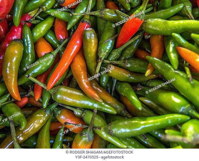 This tiny chile adds serious amounts of heat to Southeast Asian cuisines. You may find either green or red Thai chiles; both are very spicy