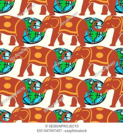 Traveling pattern. colorful seamless graphic background, vector illustration