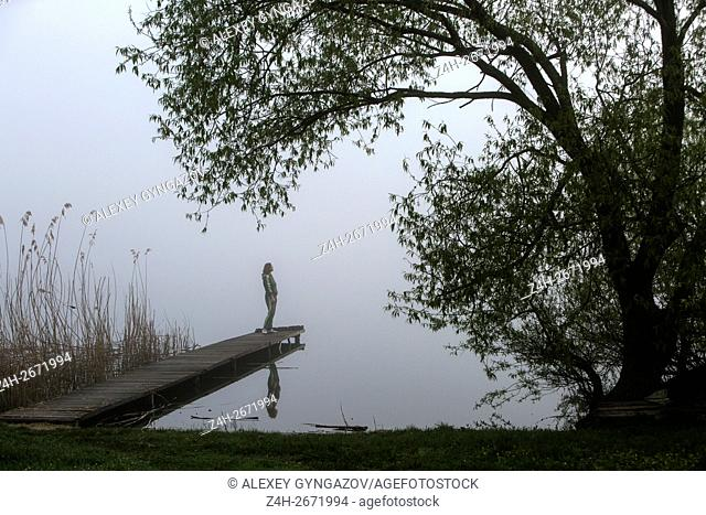 Russian Federation. Belgorod region. Misty morning in the countryside