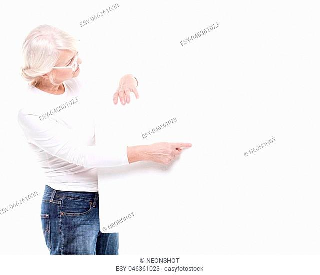 Senior Lovely woman Holding A Blank empty White Board