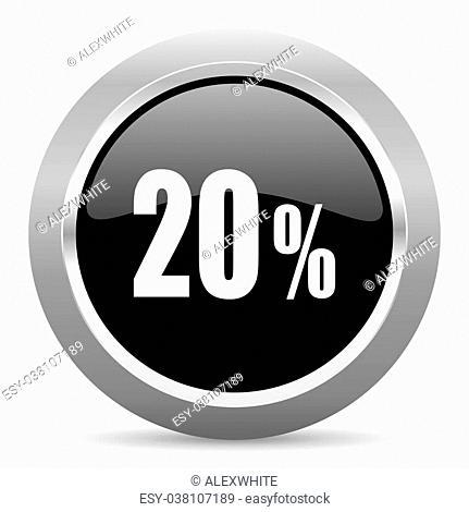 20 percent black metallic chrome web circle glossy icon