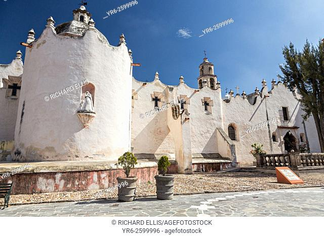 Facade of the fortress like Mexican baroque Sanctuary of Atotonilco, and important Catholic shrine in Atotonilco, Mexico