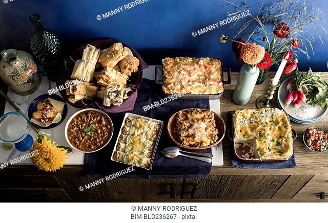 Food on buffet table
