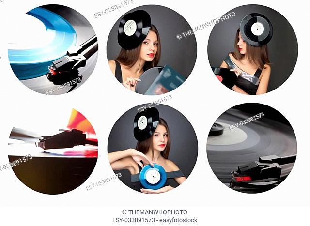 Beautiful girl wearing hat with vinil disc on black background