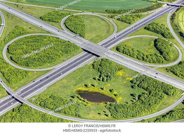 France, Vendee, Les Essarts, highways cross roads (aerial view)