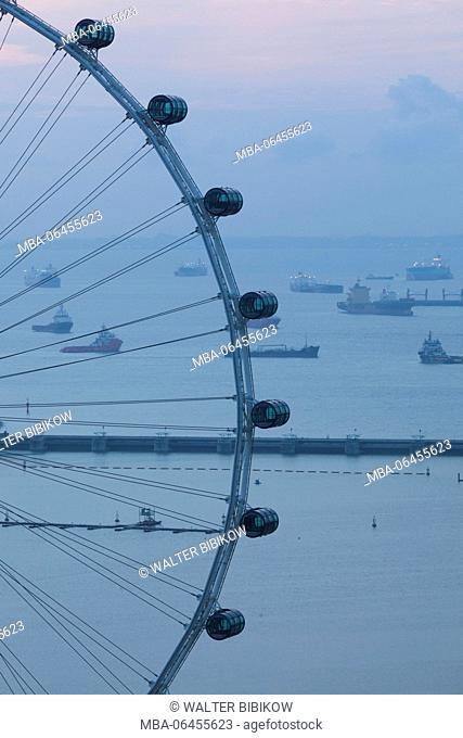 Singapore, Singapore Flyer, giant ferris wheel, elevated view, dawn