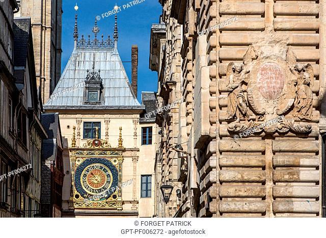 BELFRY AND ASTRONOMICAL CLOCK, RUE DU GROS HORLOGE, ROUEN (76), FRANCE