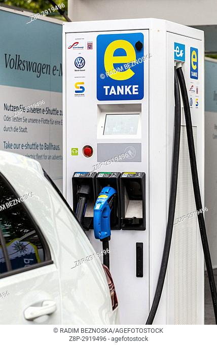 Charging station for electric cars, Volkswagen, E mobility, Kassel, Germany