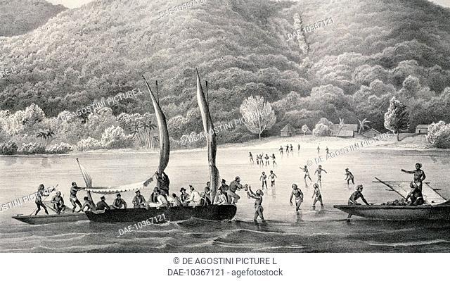 The village of Nama in Vanikoro, Santa Cruz archipelago, 1828, engraving based on a painting by Louis-Auguste de Sainson (1801-1887)