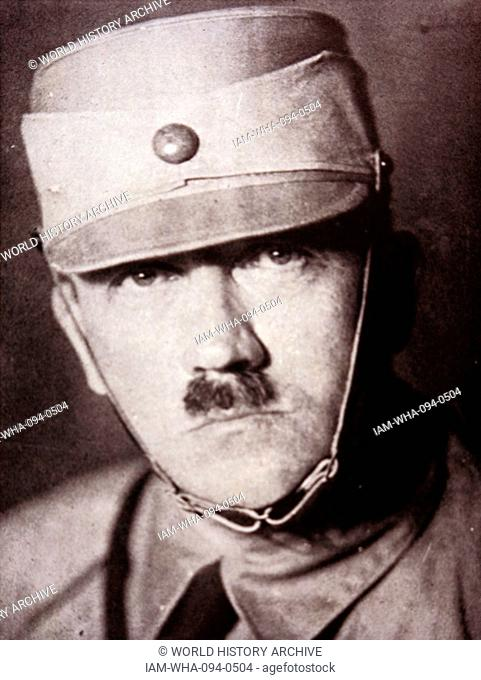 Photograph of Adolf Hitler (1889-1945) Austrian-born German politician who was the leader of the Nazi party and Chancellor of Germany