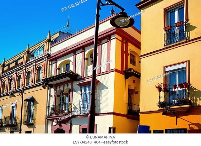 Triana barrio of Seville facades Andalusia Sevilla Spain