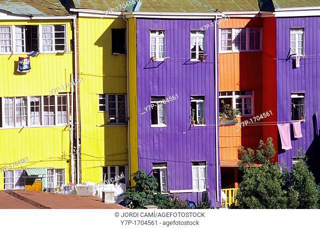 Multicoloured houses in Cerro Bellavista  Valparaíso  Chile
