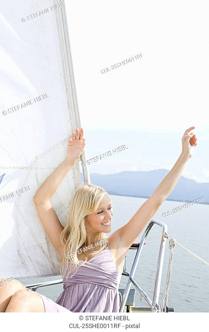 Girl sitting on boat
