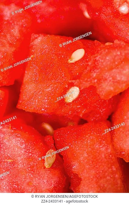 Close macro image of ripe fresh watermelon chopped. Fresh fruit background