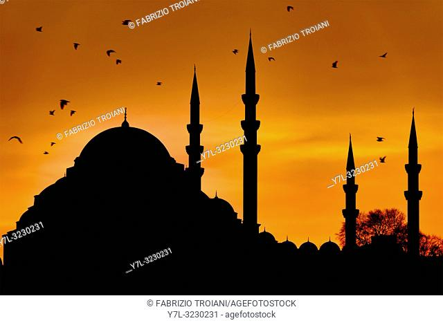 Silhouette of the Suleymaniye Mosque at sunset in Fatih, Istanbul, Turkey
