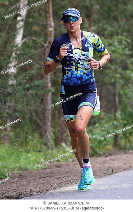 British athlete Laura Siddall competes in the Triathlon Challenge Roth 2017 in Hilpoltstein, Germany, 9 July 2017. The competition is now in its sixteenth year