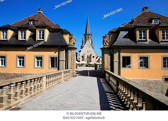 view from the gate of the palais to the Church St. Georg and market square of Weikersheim, Baden-Wuerttemberg, Germany
