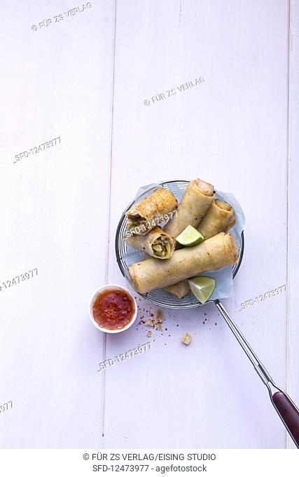 Spring rolls with sweet-and-sour sauce