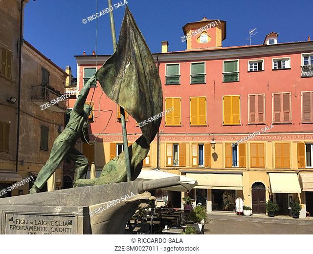 Italy, Liguria, Laigueglia, Monument. .
