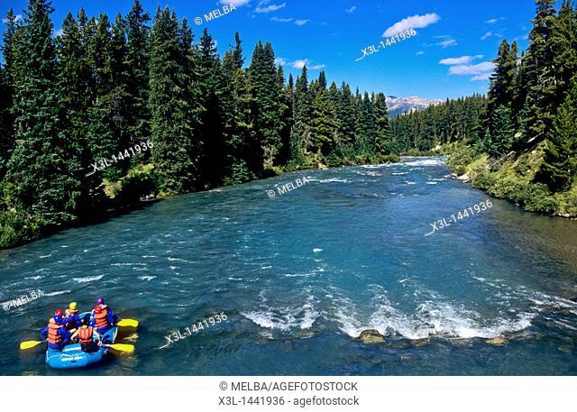 Rafting in Maligne River Jasper National Park  Alberta  Canada