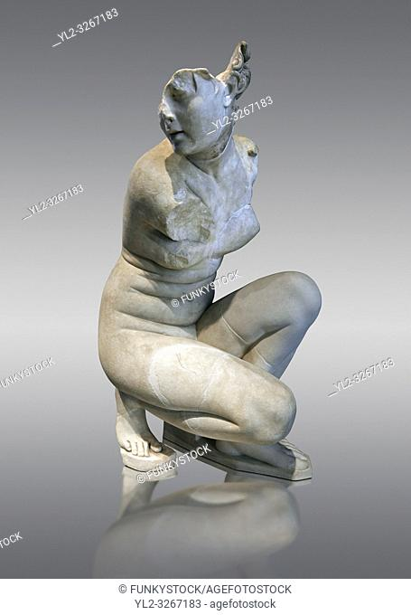 Aphrodite Crouching whilst bathing. The Goddess of love Aphrodite, Venus to the Romans is depicted crouching whilst bathing