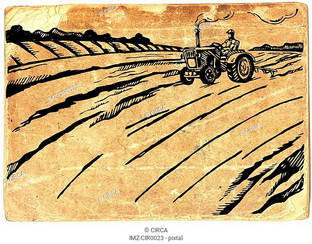 Man driving a tractor in a field on paper background