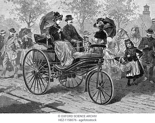 Petrol-driven car by Benz & Co., capable of 16 km per hour. Karl Benz made his first four-wheeled prototype in 1891, and by 1895 he was building a range of...