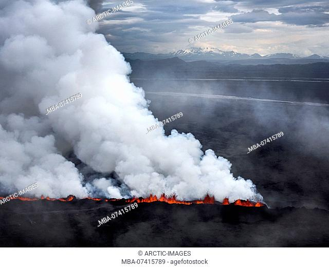 Lava and plumes from the Holuhraun Fissure by the Bardarbunga Volcano, Iceland. Sept. 1, 2014 Aerial view of the eruption at the Holuhraun Fissure by the...