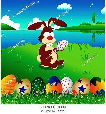 Easter Bunny holding an easter egg