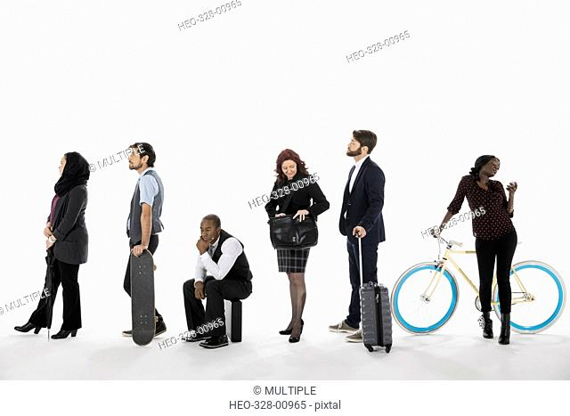 Business people commuting, waiting in a row in queue against white background