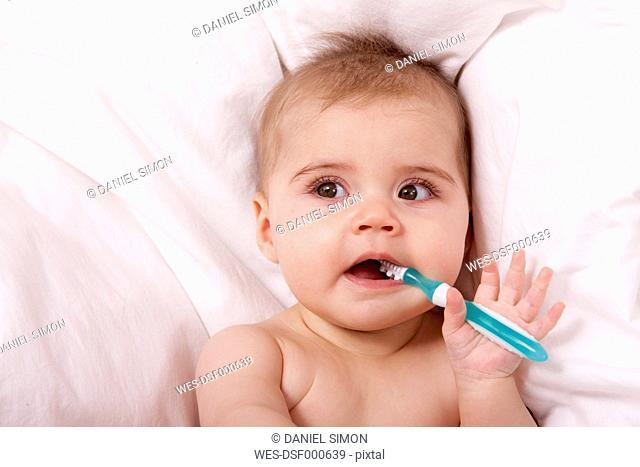 Portrait of baby girl brushing teeth