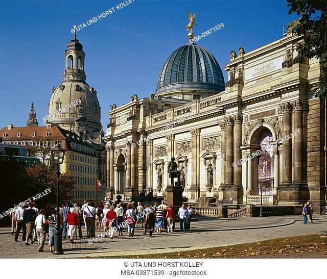 Germany, Saxony, Dresden, Old Town, Neumarkt, academy of arts, Gottfried-Semper-Denkmal, Frauenkirche, church, cathedral, style, baroque, baroque-church