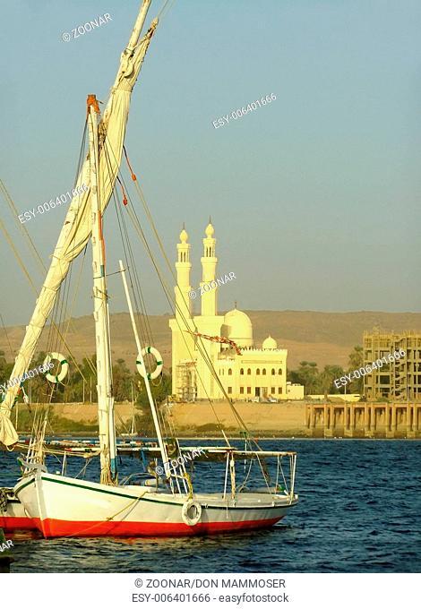 Felucca boats on the Nile river bank, Aswan, Egypt
