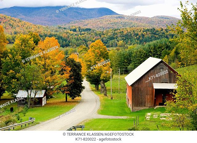 Fall foilage and a farm in rural, Vermont, USA