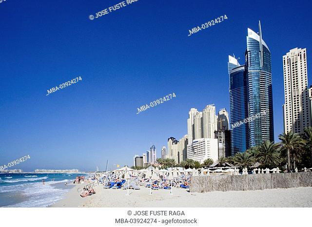 United Arabic emirates, Dubai, Jumeirah beach, swimmers, sheikdom, city, capital, buildings, high-rises, office buildings, office-high-rises, hotels, beach