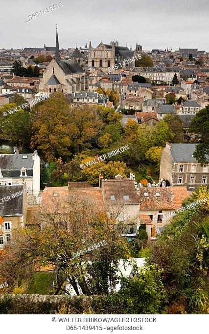 France, Poitou-Charentes Region, Vienne Department, Poitiers, elevated view of town and Cathedrale St-Pierre, autumn