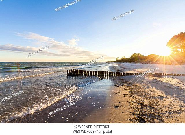 Denmark, Mon Island, Baltic Sea, beach at sunset