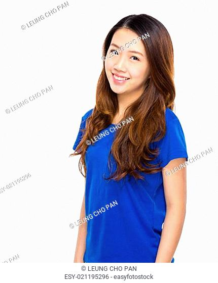 Asian young woman portarit on white background