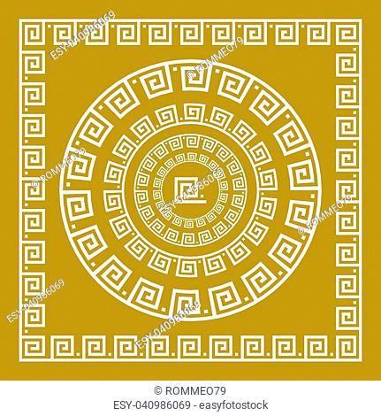b3e49b8187bc Vector set Traditional vintage golden square and round Greek ornament  Meander and floral pattern on a
