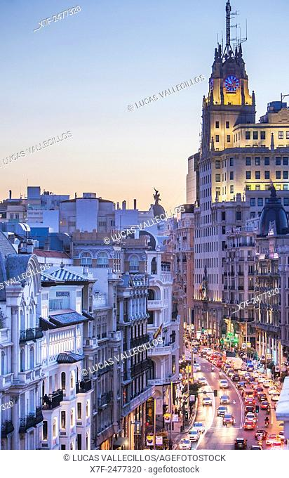 Gran Via street and Telefonica building. Madrid, Spain